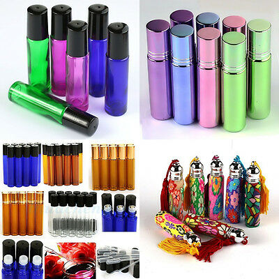 1-100pcs Roll on Bottles 1-10ml Essential Oil Perfume Metal or Glass Roller Ball
