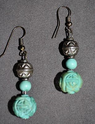 Estate Find - Vintage Chinese Turquoise Drop Earrings