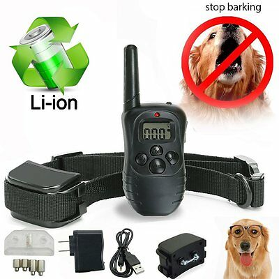 100LV Waterproof Remote LCD Electric Shock Vibrate Dog Training Collar