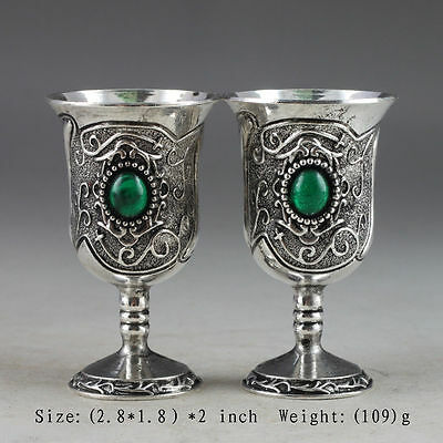 Exquisite China Handmade Miao Silver Inlaid Zircon A pair Green Goblet Wine cups