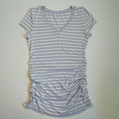 Liz Lange Maternity Tee Shirt Top Size Small S Lilac White Stripe Short Sleeve