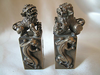 Q`ing Dynasty Pair Of Small Bronze Foo Dogs Seals