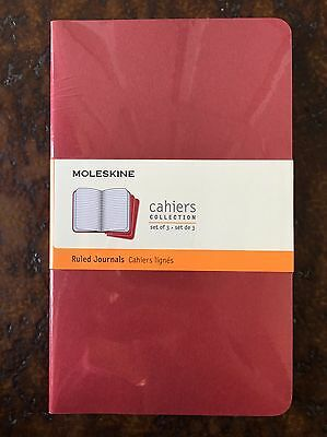 """NEW MOLESKINE RULED NOTEBOOK 3pk CAHIERS 5x8.25"""" LARGE"""
