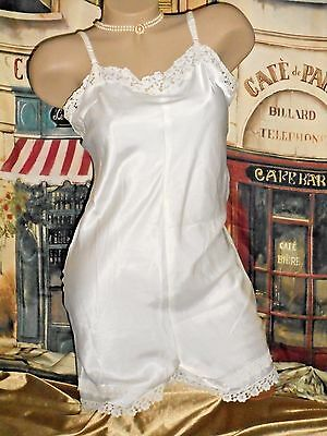 Vintage White Step-in Camiknickers One Piece Camisole Teddy Romper Playsuit M/L