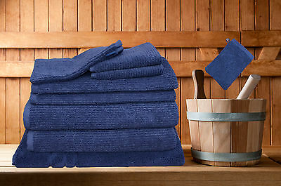 8 Pieces Egyptian Cotton Bath Towels Set Classic Ribbon 8 Colours With Bath Mat