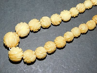 Old Yellow Vegetable Ivory Carved Bead Necklace