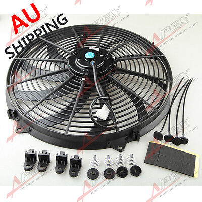 "Universal 16"" Curved S-Blade Electric Radiator Cooling Fan with Mounting Kit AU"