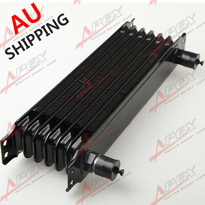 Universal 7 Row -10AN Engine Transmission Oil Cooler Trust Style Black AU