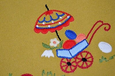 On The Road W/ Easter Bunny & Umbrella Cart! Vtg German Wool Blend Tablecloth