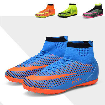 Men Football Boots TF High Top Soccer Shoes Turf Sock Cleats Plus Size Sneakers