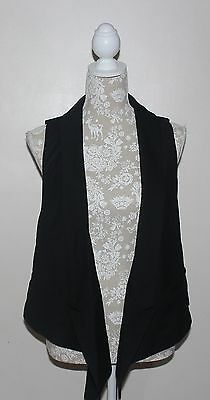 UK size 14 womens clothes - WAREHOUSE Black buttonless waistcoat