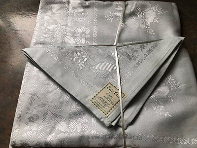 Vintage Pale Blue Damask Floral Cloth And 3 Serviettes.erin Art.