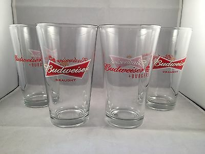 Budweiser Beer and Burgers - 16 oz Pint Glass Glasses - Set of Four (4) - NEW