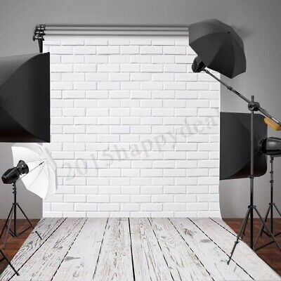 5X7FT Vinyl White Brick Wall Wood Floor Backdrop Photo Photography Background