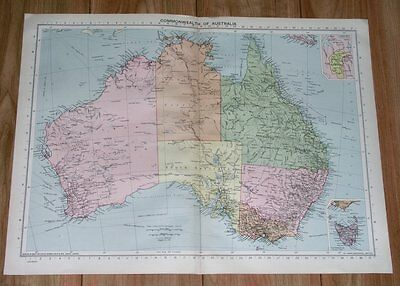 1940 Original Vintage Wwii Map Of Australia / Canberra Federal Territory