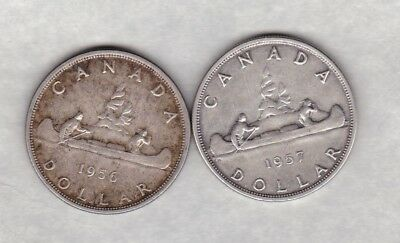 1956 Canada One Dollar Silver Coin In Near Extremely Fine Condition