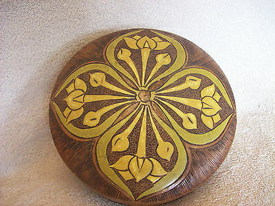 Vintage Carved and Coloured Art Nouveau Style Wooden Box