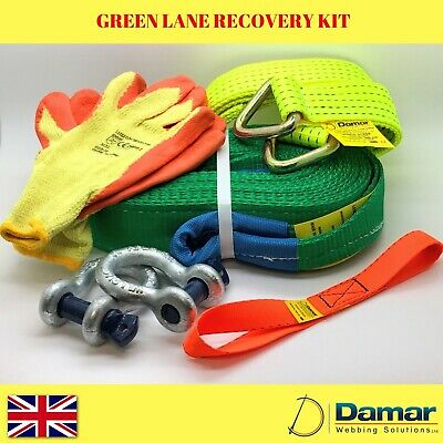 Green lane 4X4 offroad land rover recovery strap kit