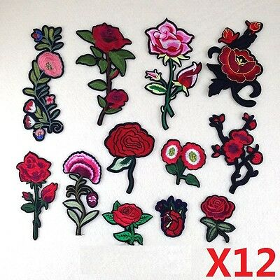 12Pcs Large Flower Sew Iron On Patch Badge Bag Hat Dress Applique Embroidery DIY