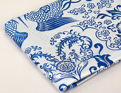 "48"" Silk Damask Jacquard Brocade Tapestry Fabric: Qing Hua Blue Chinese Phoenix"
