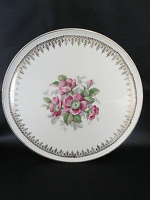 Serving Plate - Cakes / Sandwiches Portland Pottery Cobridge Stafford Pink Roses