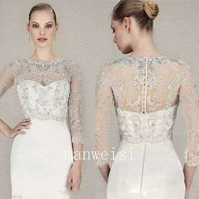 Sparkles Crystal Appliques Wedding Jacket Beaded Bridal Boleros Wraps 3/4 Sleeve