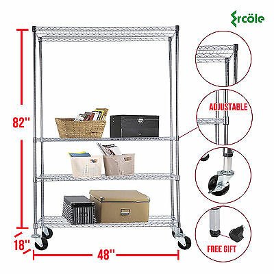 "82""x48""x18"" Chrome 4 Tier Wire Shelving Rack Heavy Duty Steel Shelf Adjustable"