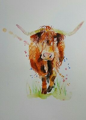 "ELLE SMITH ART. NEW &ORIGINAL RARE WATERCOLOUR PAINTING.16x12"" ""HIGHLAND COW"""