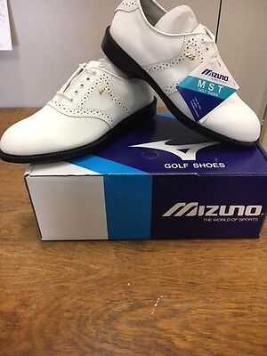 Mizuno MST Spiked Golf Shoes 9812 (White) Narrow Fit