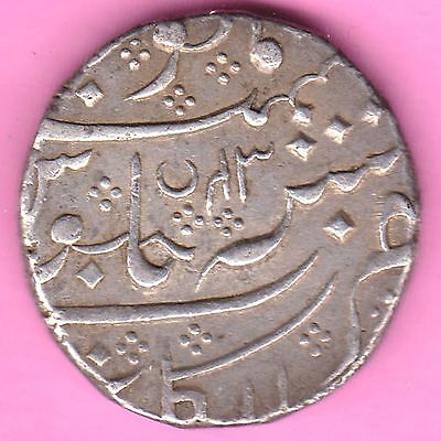 French India-Arkat Mint-Ah:1221/ry:43-Shah Alam-One Rupee-Rarest Silver Coin-21