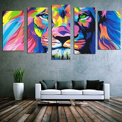 5 Panel Colorful Lion Canvas Print Wall Art Painting Picture Home Decor Unframed