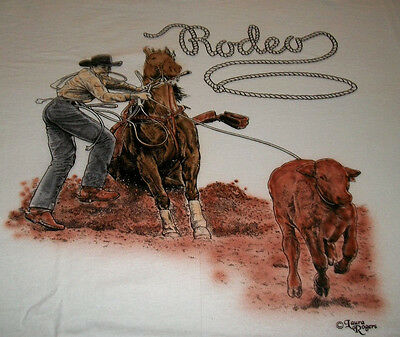 "Rodeo Riders T-shirt  "" Natural "" Large ( 42 ~ 44 )"