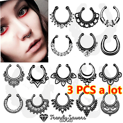 3 PCS Crystal Black/Silver Fake Septum Piercing Faux Clip Clicker Nose Rings