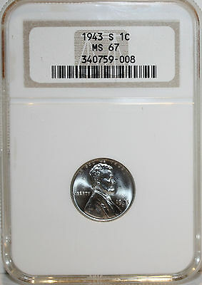1943s Lincoln wheat cent NGC MS67