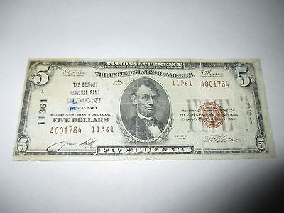 $5 1929 Dumont New Jersey NJ National Currency Bank Note Bill #11361 RARE!