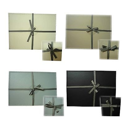 2 Placemats OR 6 Coasters Faux Leather Black Cream Truffle OR Grey NEW