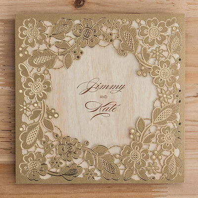 CW5279, Dark Gold Flowers Leaves Wooden Pattern Sheet Wedding Invitations Cards