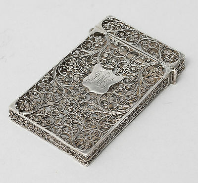 Antique Indian Goan Silver Filigree Wire Calling Card Case c1860
