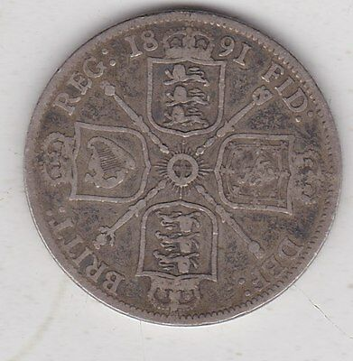 1891 Victorian Silver Florin In A Used Fine Condition