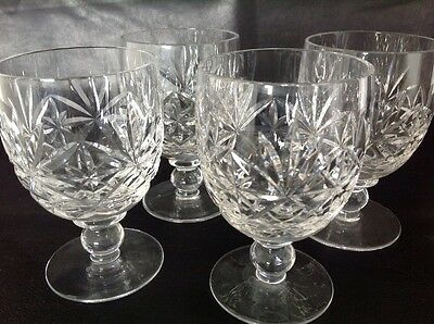 5 Lead Crystal Glasses - Short Stemmed - Scotch Whisky - Cut Crystal Pattern -