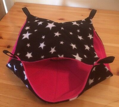 New Double Decker Quilted Hammock For Rats+small Animals. STARS + PINK FLEECE