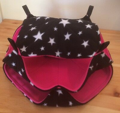New TRIPLE Decker Quilted Hammock For Rats+small Animals. STARS + PINK FLEECE