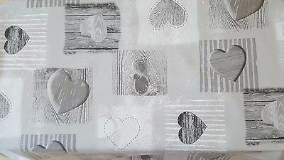 Grey Plain Wooden Hearts Pvc Vinyl Oil Cloth Table Protector Dining Cover Party
