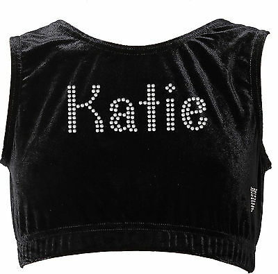 Personalised Gymnast Crop top Velvet Dance Sports wear workout Ballet for girls