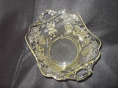 Elaborately Etched Antique Glass Bowl- Finger Tip Handles- Curved- Great S