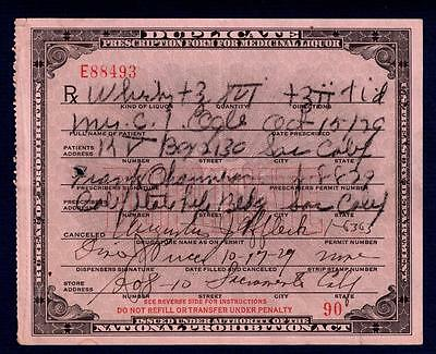 Prohibition Whiskey Prescription Antique Ogle 1929 Pucci Pharmacy Doctor Bar CA