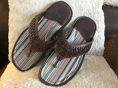 Johnston Murphy Men's Brown Leather Thong Slip On Sandals Flip Flops 10M NWOB