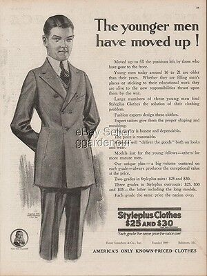 1918 Styleplus Suit Baltimore MD Younger Men Have Moved Up Vintage Fashion Ad