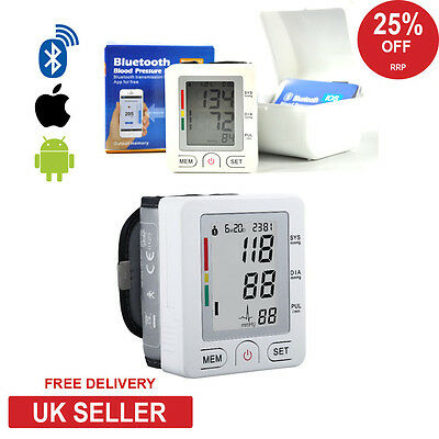 NEW Digital Wrist Blood Pressure Monitor Heart Beat Rate Pulse Meter Bluetooth A