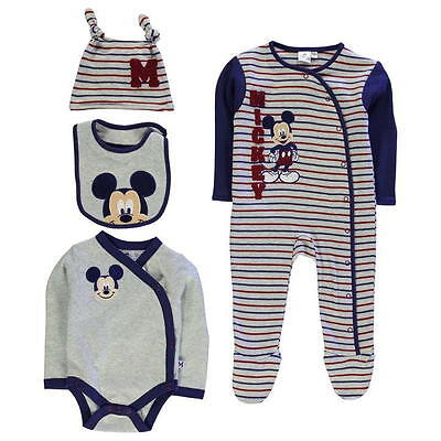 Disney Baby Mickey Mouse Boys Romper Sleepsuit Hat Bib Gift Set